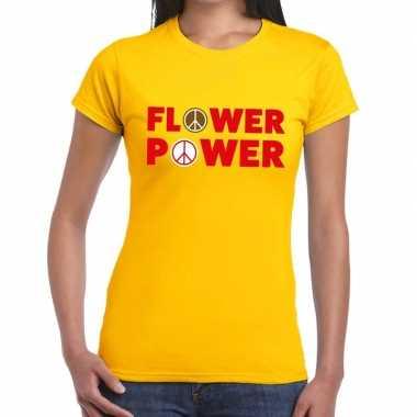 Goedkope geel flower power fun t shirt voor dames