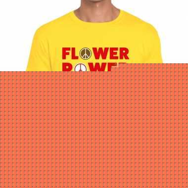 Goedkope geel flower power fun t shirt voor heren