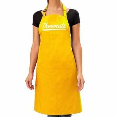 Goedkope geel keukenschort theemuts voor dames