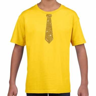 Goedkope geel t shirt met gouden stropdas voor kinderen