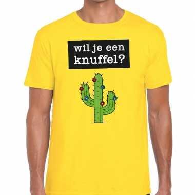 Goedkope geel wil je een knuffel fun t shirt voor heren