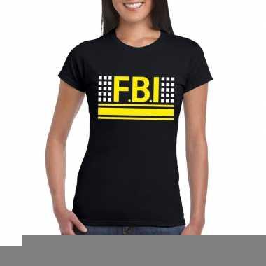 Goedkope geheim politie agent shirt zwart voor dames