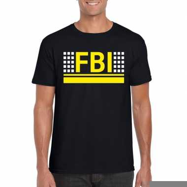 Goedkope geheim politie agent shirt zwart voor heren
