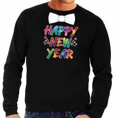 Goedkope gekleurde happy new year met strikje sweater / trui zwart vo
