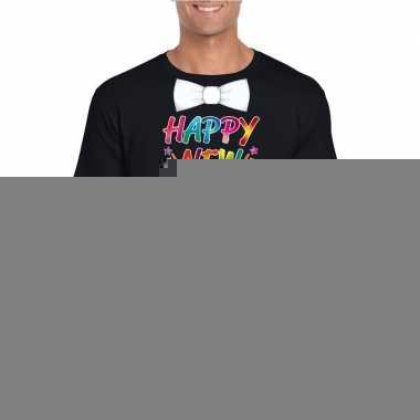 Goedkope gekleurde happy new year met strikje t shirt zwart voor here