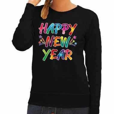 Goedkope gekleurde happy new year sweater / trui zwart voor dames