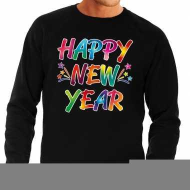 Goedkope gekleurde happy new year sweater / trui zwart voor heren