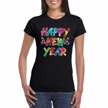 Goedkope gekleurde happy new year t shirt zwart voor dames