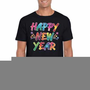 Goedkope gekleurde happy new year t shirt zwart voor heren