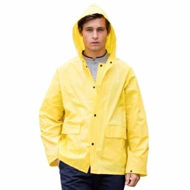 Goedkope gele unisex regenjas met drukknoopsluiting voor volwassenen
