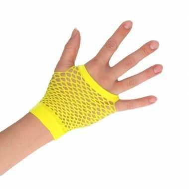 Goedkope gele verkleed handschoenen met gaatjes voor dames/heren