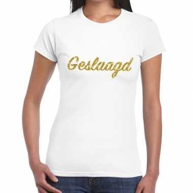 Goedkope geslaagd gouden letters fun t shirt wit voor dames