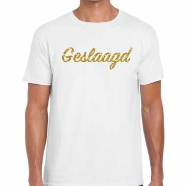 Goedkope geslaagd gouden letters fun t shirt wit voor heren