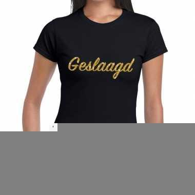 Goedkope geslaagd gouden letters fun t shirt zwart voor dames