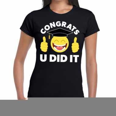 Goedkope geslaagd shirt congrats u did it zwart voor dames