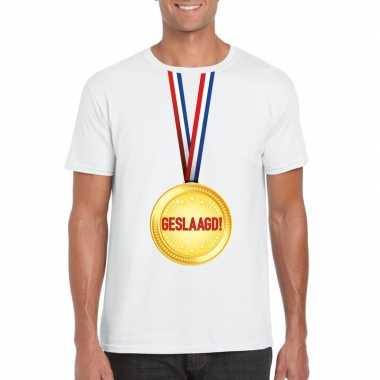 Goedkope geslaagd t shirt wit met medaille heren