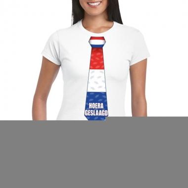 Goedkope geslaagd t shirt wit met stropdas dames
