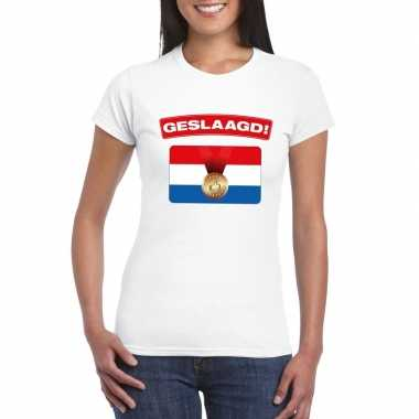 Goedkope geslaagd t shirt wit met vlag dames