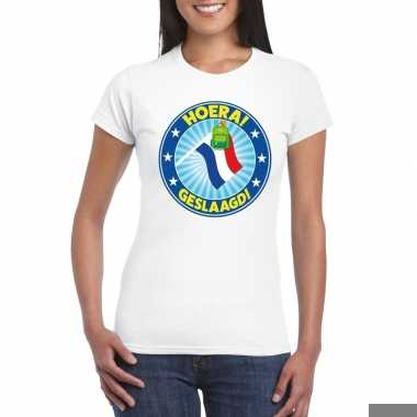 Goedkope geslaagd t shirt wit met vlaggenmast en tas dames