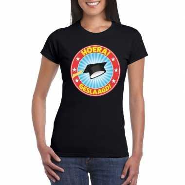 Goedkope geslaagd t shirt zwart met afstudeerhoedje dames