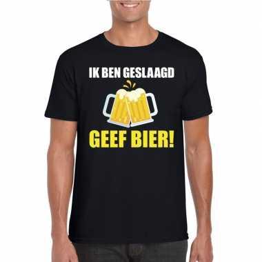 Goedkope geslaagd t shirt zwart met bier heren