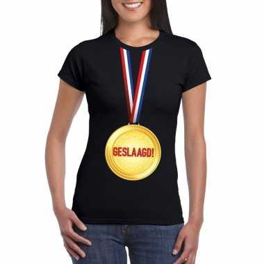 Goedkope geslaagd t shirt zwart met medaille dames