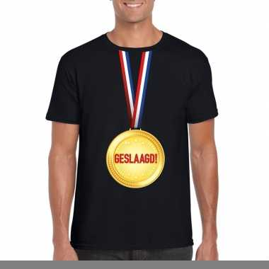 Goedkope geslaagd t shirt zwart met medaille heren