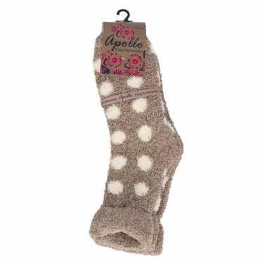Goedkope gestipte huis/bank dames sokken beige