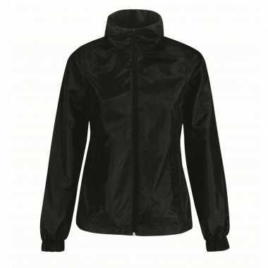 Goedkope gevoerde regenjas/windjas voor dames zwart