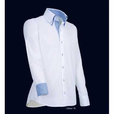 Goedkope giovanni wit met blauw heren overhemd