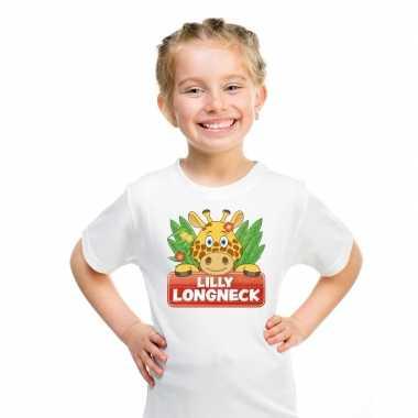 Goedkope giraffe dieren t shirt wit voor kinderen