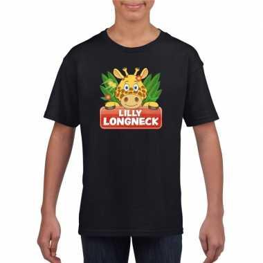 Goedkope giraffe dieren t shirt zwart voor kinderen