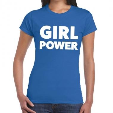 Goedkope girl power fun t shirt blauw voor dames