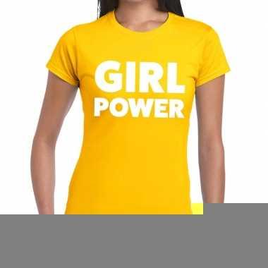 Goedkope girl power fun t shirt geel voor dames