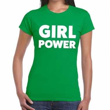 Goedkope girl power fun t shirt groen voor dames