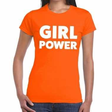 Goedkope girl power fun t shirt oranje voor dames