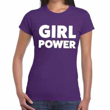 Goedkope girl power fun t shirt paars voor dames