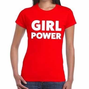 Goedkope girl power fun t shirt rood voor dames