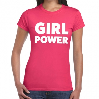Goedkope girl power fun t shirt roze voor dames