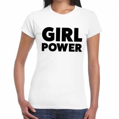Goedkope girl power fun t shirt voor dames wit