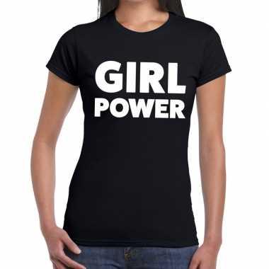 Goedkope girl power fun t shirt zwart voor dames