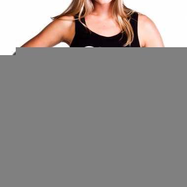 Goedkope girl power fun tanktop / mouwloos shirt zwart voor dames