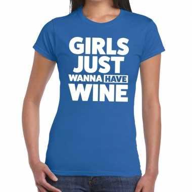 Goedkope girls just wanna have wine fun t shirt blauw voor dames