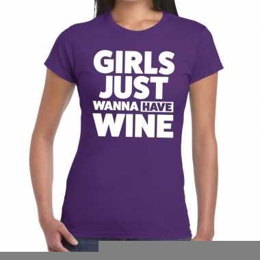 Goedkope girls just wanna have wine fun t shirt paars voor dames