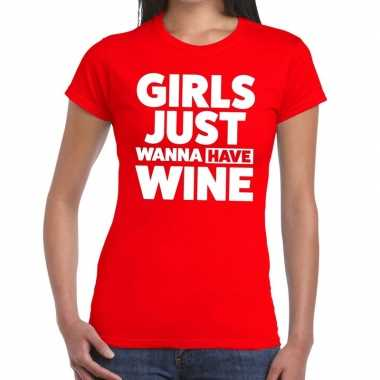Goedkope girls just wanna have wine fun t shirt rood voor dames