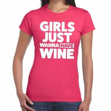 Goedkope girls just wanna have wine fun t shirt roze voor dames