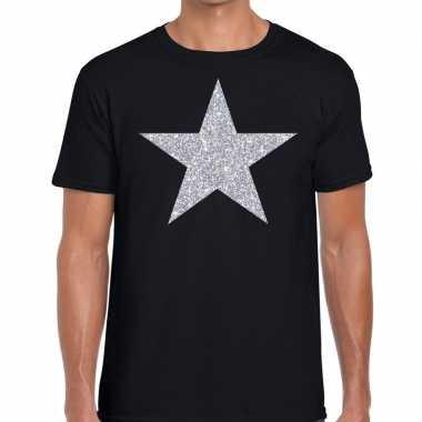 Goedkope glitte ster shirt zwart met zilveren bedrukking voor heren