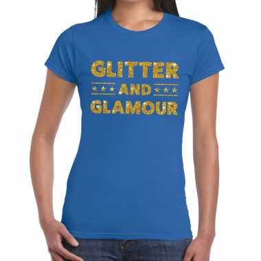 Goedkope glitter and glamour fun t shirt blauw voor dames