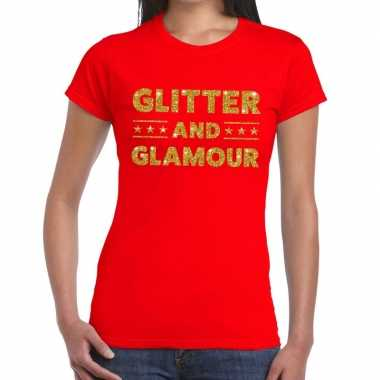 Goedkope glitter and glamour fun t shirt rood voor dames