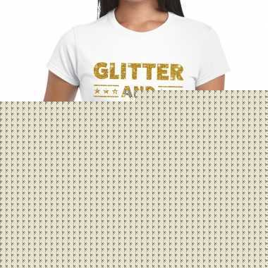 Goedkope glitter and glamour goud fun t shirt wit voor dames